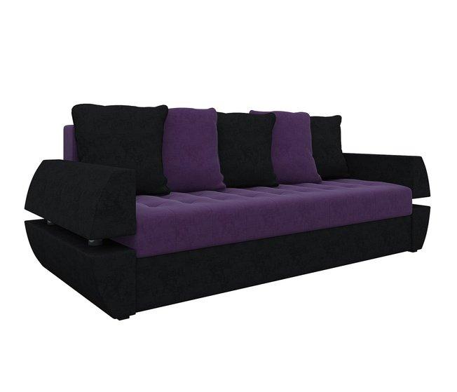 Диван-кровать Атлант Т, фиолетовый/черный/микровельвет фото