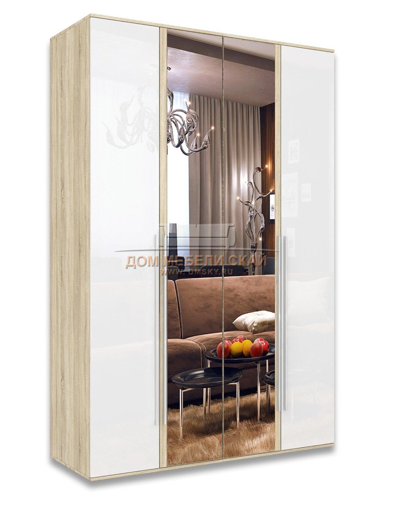Шкаф ирма 4-дверный с зеркалом, белый глянец - купить в с.-п.