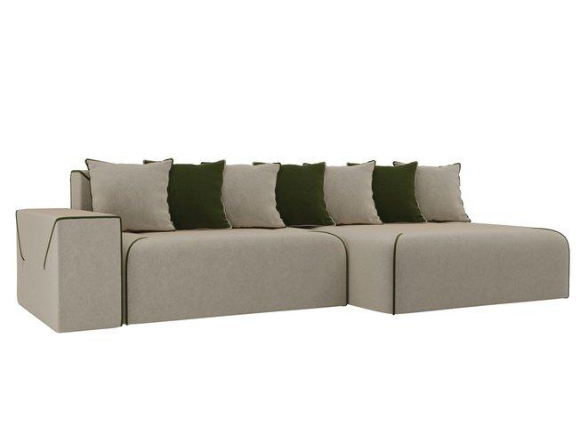 Угловой диван-кровать правый Кёльн, бежевый/зеленый/микровельвет фото