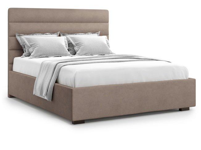 Кровать 1400 Karezza с подъемным механизмом, коричневый велюр velutto 22 фото
