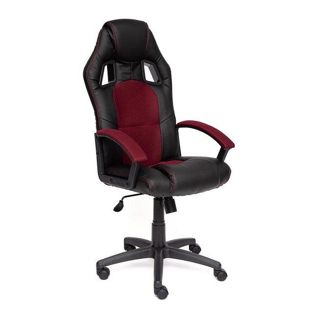 Кресло офисное Драйвер Driver, черная экокожа/бордовая сетка фото