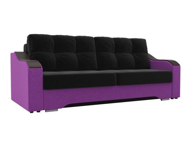 Диван-кровать Браун, черный/фиолетовый/микровельвет фото