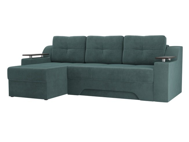 Угловой диван-кровать левый Сенатор, бирюзовый/велюр фото