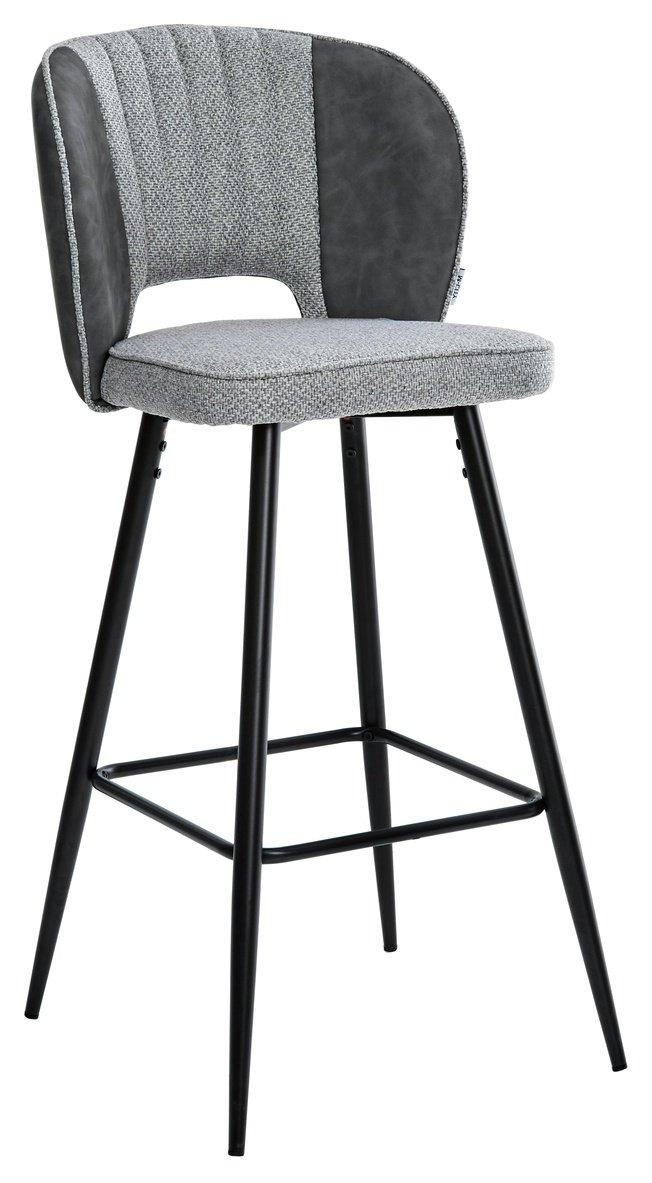 Барный стул HADES, теплый серый/ткань/серая сталь экокожа фото