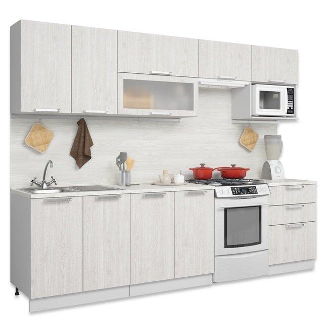 Кухня 2200 со шкафом под СВЧ, дуб серый фото