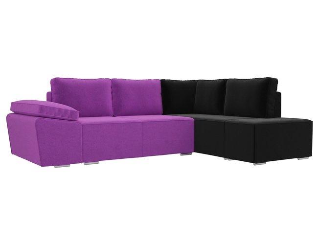 Угловой диван-кровать правый Хавьер, фиолетовый/черный/микровельвет фото