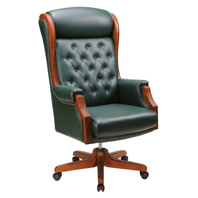 Офисное кресло 887, орех/тёмно-зелёная кожа фото