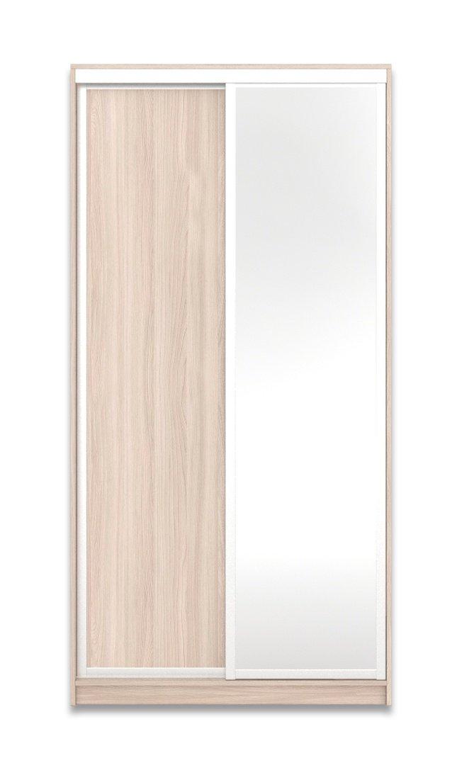 Шкаф-купе Юпитер 2-дверный с зеркалом 1200 (глубина 600, высота 2200), ясень светлый фото