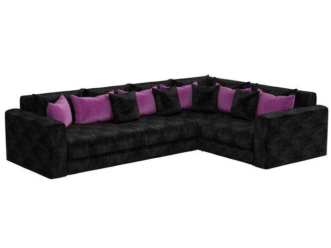 Угловой диван-кровать правый Мэдисон Long, черный/фиолетовый/микровельвет фото