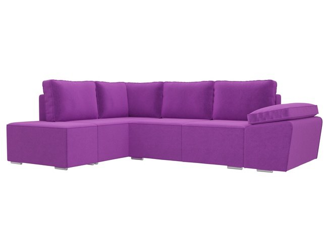 Угловой диван-кровать левый Хавьер, фиолетовый/микровельвет фото