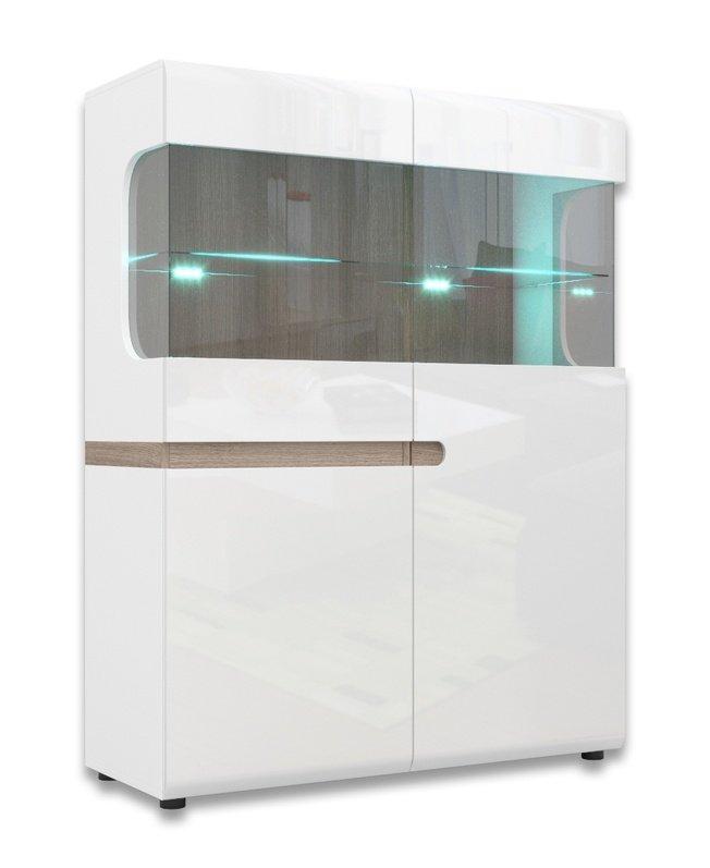 Шкаф-витрина 2-дверный Линате с подсветкой 3D-1S /TYP33, белый глянец фото