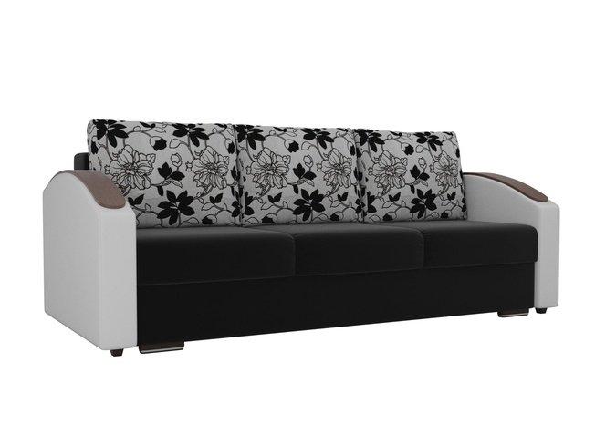 Диван-кровать Монако slide, черный/белый/микровельвет/экокожа/флок на рогожке фото