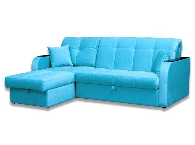 МК Ева / Угловой диван-аккордеон Амиго с ящиком 1250 БНП, бирюзовый велюр