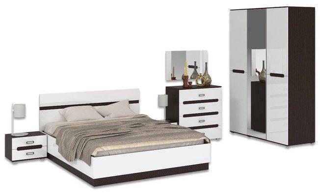 Комплект спальни Кент, венге/белый глянец фото