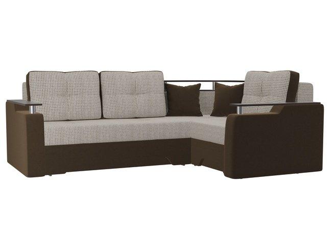 Угловой диван-кровать правый Комфорт, корфу 02/коричневый/корфу/микровельвет фото
