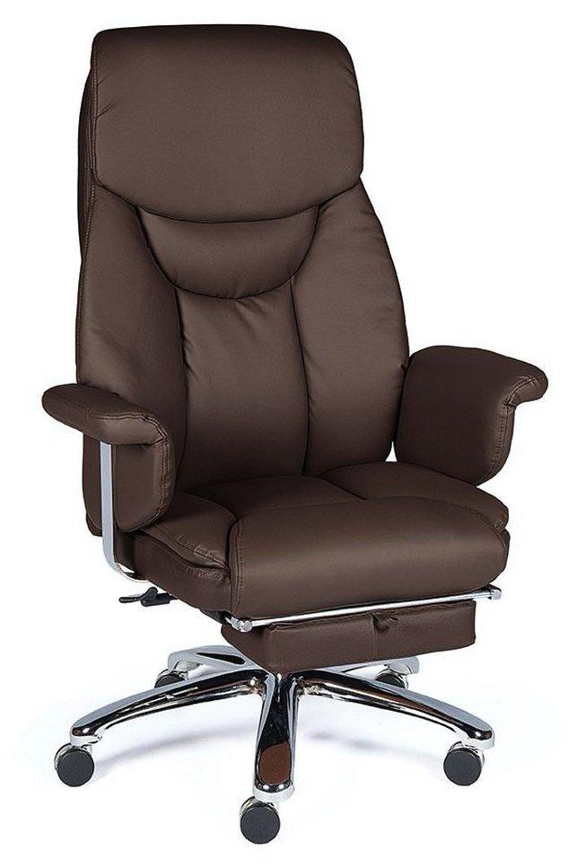 Кресло офисное Парламент, brown/сталь/хром/темно-коричневая экокожа фото