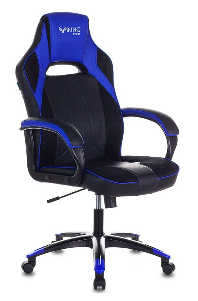 Кресло игровое VIKING 2 AERO, черная экокожа/синие вставки фото