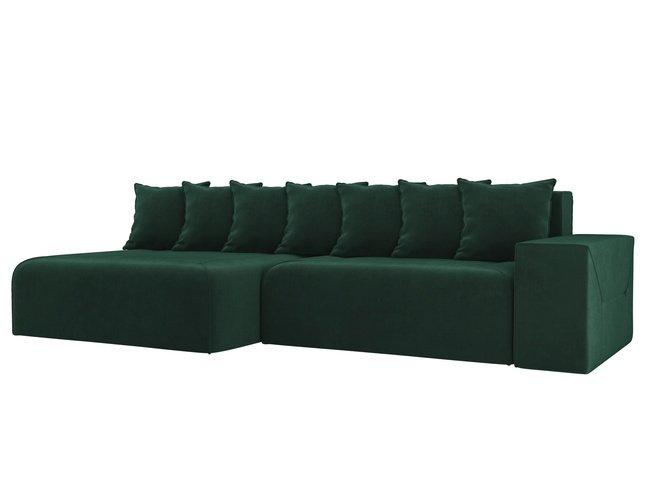 Угловой диван-кровать левый Кёльн, зеленый/велюр фото