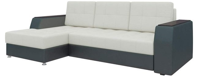 Угловой диван-кровать левый Эмир Б/С, белый/черный/экокожа фото