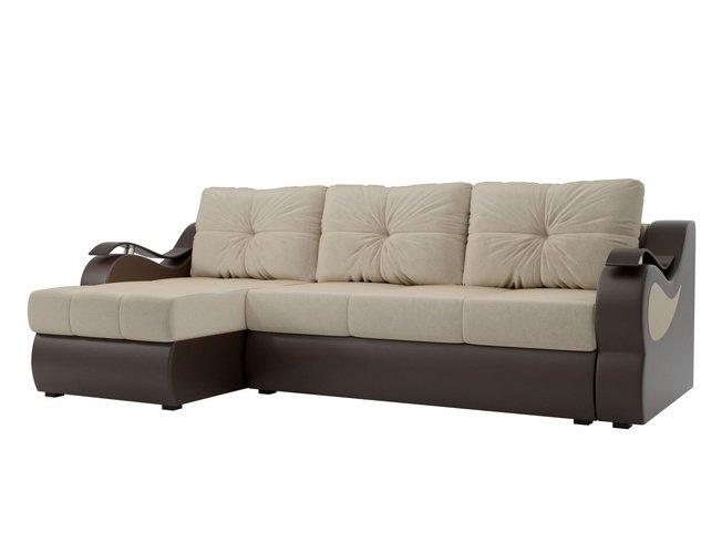 Угловой диван-кровать левый Меркурий, бежевый/коричневый/микровельвет/экокожа фото