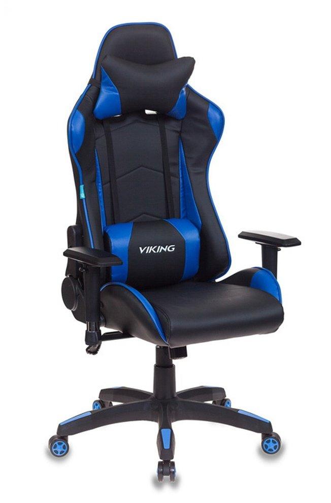Кресло игровое CH-778, черная экокожа/синие вставки фото