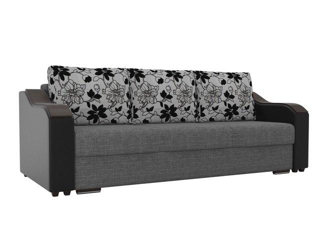 Диван-кровать Монако, серый/черный/рогожка/экокожа/флок на рогожке фото