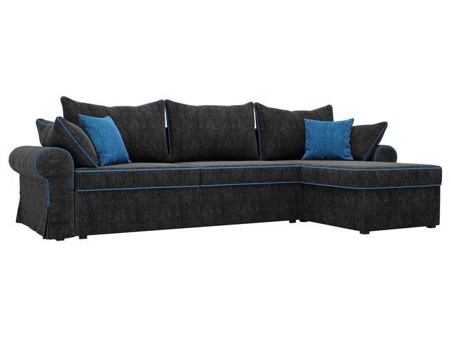 Угловой диван-кровать правый Элис, черный/голубой/велюр фото