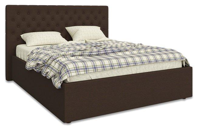 Кровать Лофтум 1600 мягкая, коричневая рогожка фото