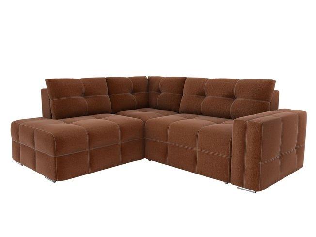 Угловой диван-кровать левый Леос, коричневый/рогожка фото