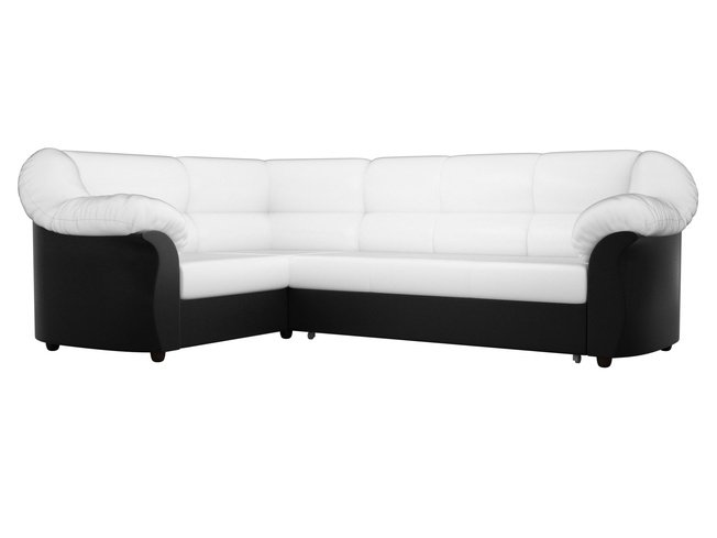 Угловой диван-кровать левый Карнелла, белый/черный/экокожа фото