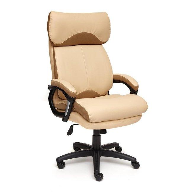 Кресло офисное Дьюк Duke, бежевая экокожа/бронзовая сетка фото