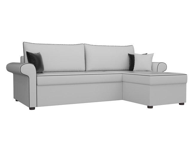 Угловой диван-кровать правый Милфорд, белый/экокожа фото