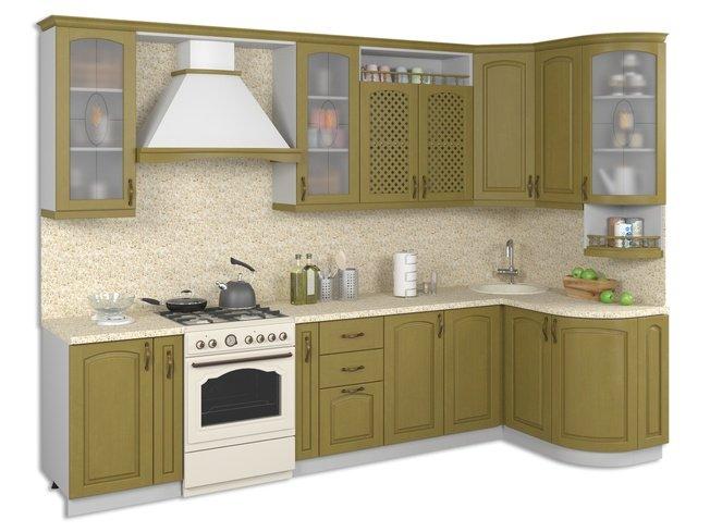 Кухня Массив Люкс 1335х2500, олива фото