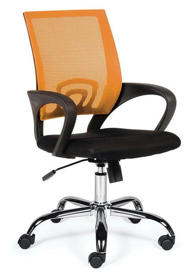 Кресло офисное Спринг, orange - black/база хром/оранжевая сетка/черная ткань фото