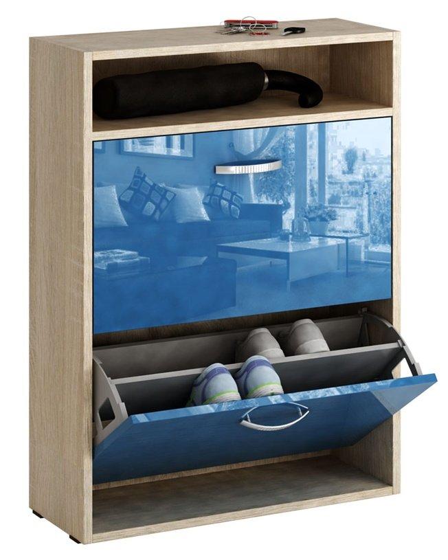 Обувница Милан-25 глянец, дуб сонома/синий фото