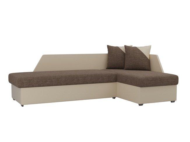 Угловой диван-кровать правый Андора, коричневый/бежевый/рогожка/экокожа фото