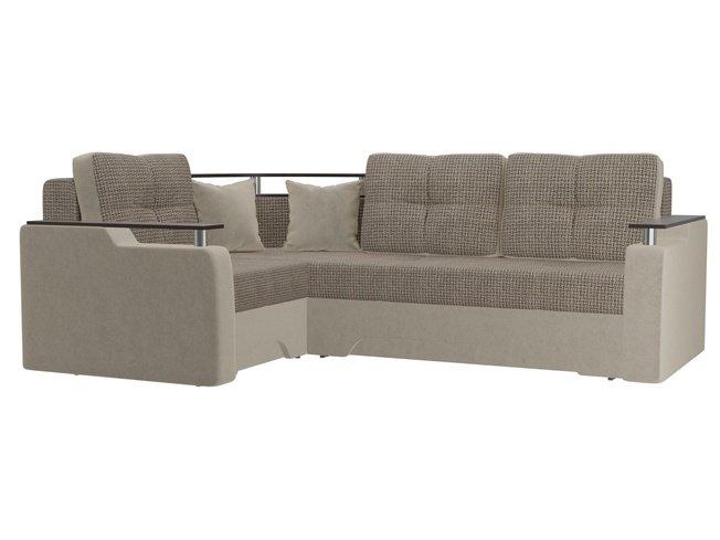 Угловой диван-кровать левый Комфорт, корфу 03/бежевый/корфу/микровельвет фото