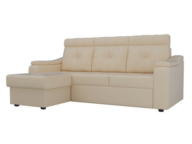 Угловой диван-кровать левый Джастин, бежевый/экокожа фото