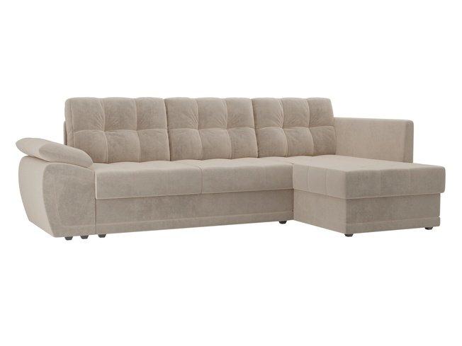 Угловой диван-кровать правый Нэстор прайм, бежевый/велюр фото