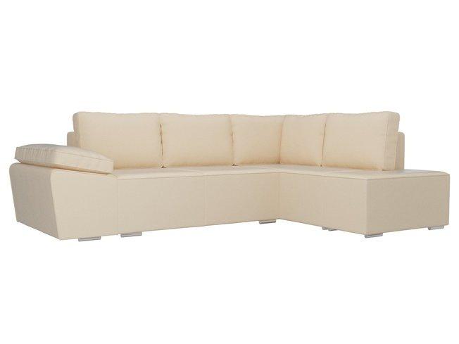 Угловой диван-кровать правый Хавьер, бежевый/экокожа фото