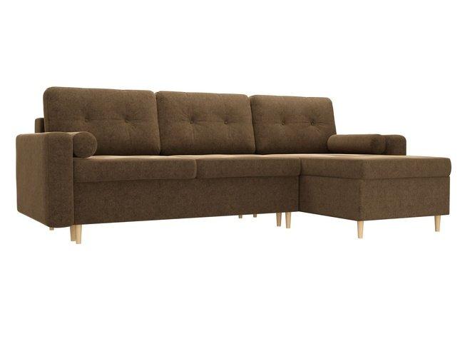 Угловой диван-кровать правый Белфаст, коричневый/микровельвет фото