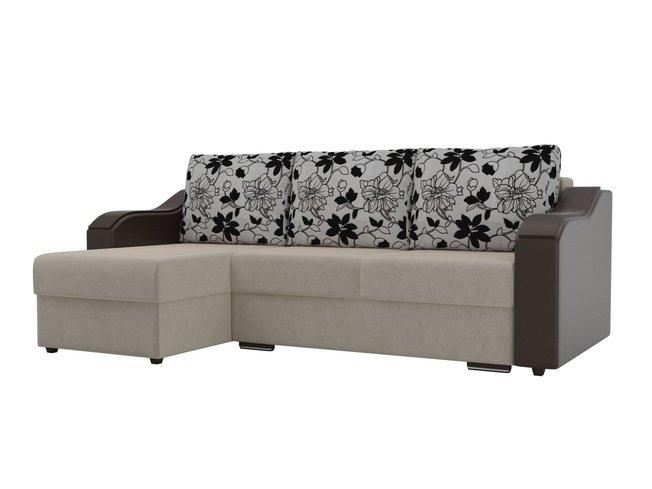 Угловой диван-кровать левый Монако, бежевый/коричневый/цветы/микровельвет/экокожа/рогожка фото