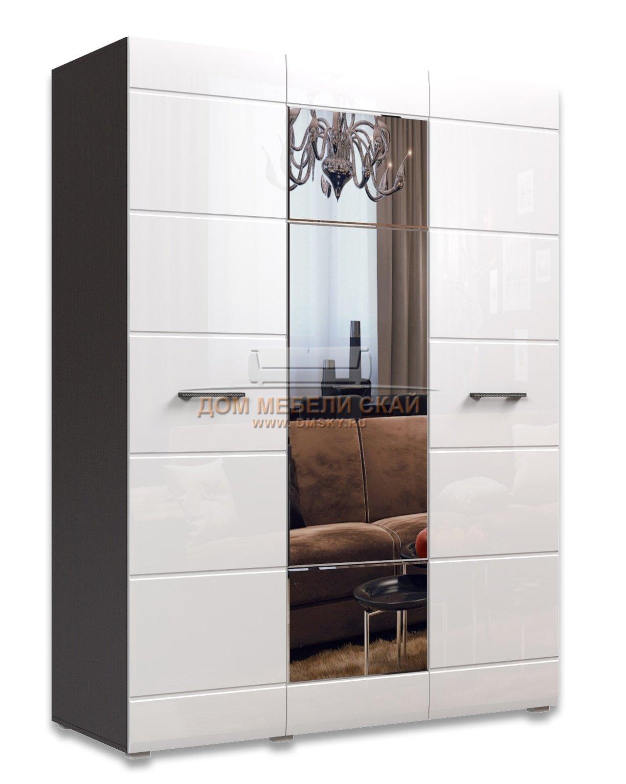 Шкаф асти 3-дверный, венге/белый глянец - купить в москве в .