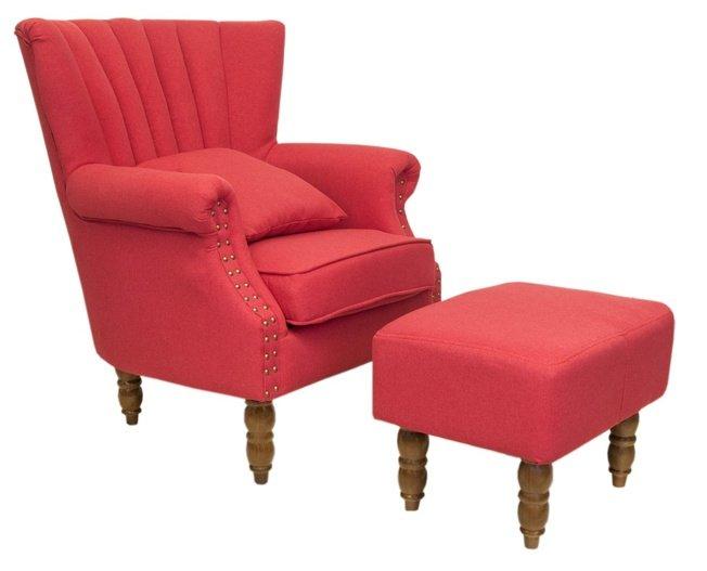 Кресло с пуфом Lab, red фото