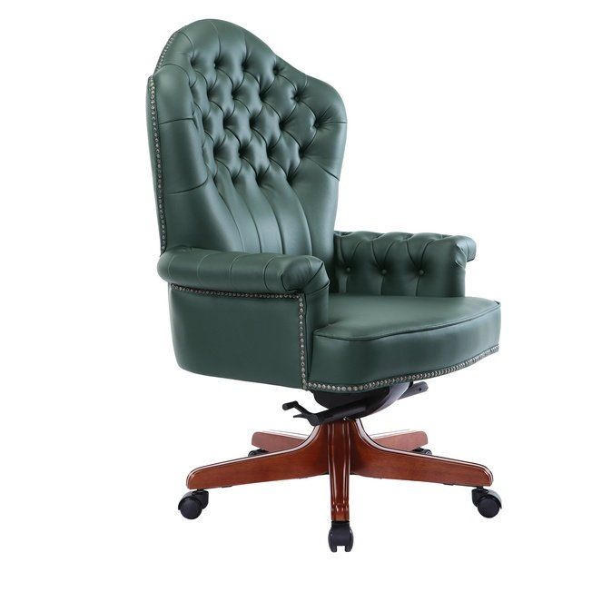 Офисное кресло 83, орех/зелёная кожа фото
