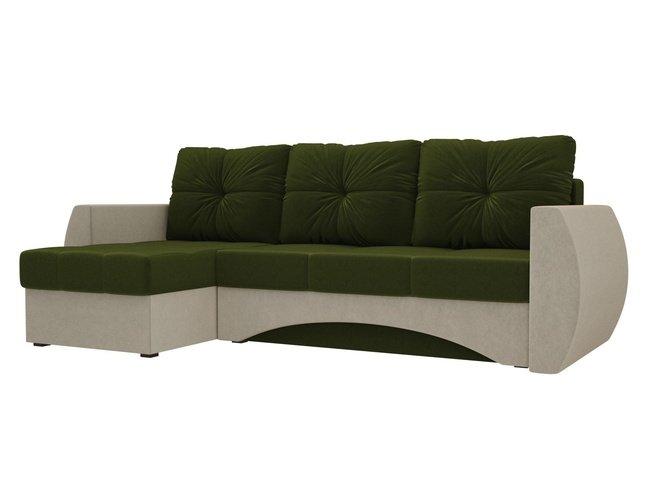 Угловой диван-кровать левый Сатурн, зеленый/бежевый/микровельвет фото