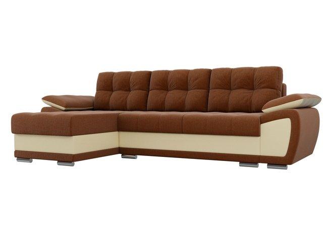 Угловой диван-кровать левый Нэстор, коричневый/бежевый/рогожка/экокожа фото