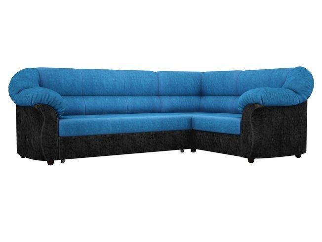 Угловой диван-кровать правый Карнелла, голубой/черный/велюр фото