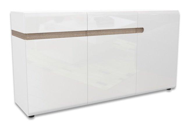 Комод 3-дверный с ящиками Линате 3D-2S /TYP40, белый глянец фото