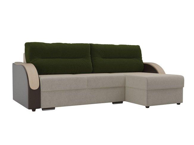 Угловой диван-кровать правый Дарси, бежевый/коричневый/зеленый/микровельвет/экокожа/микровельвет фото